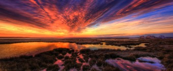 Jaw-dropping HDR wide angle photograph of a sunset over the south-side of Cedar Run Dock Road.