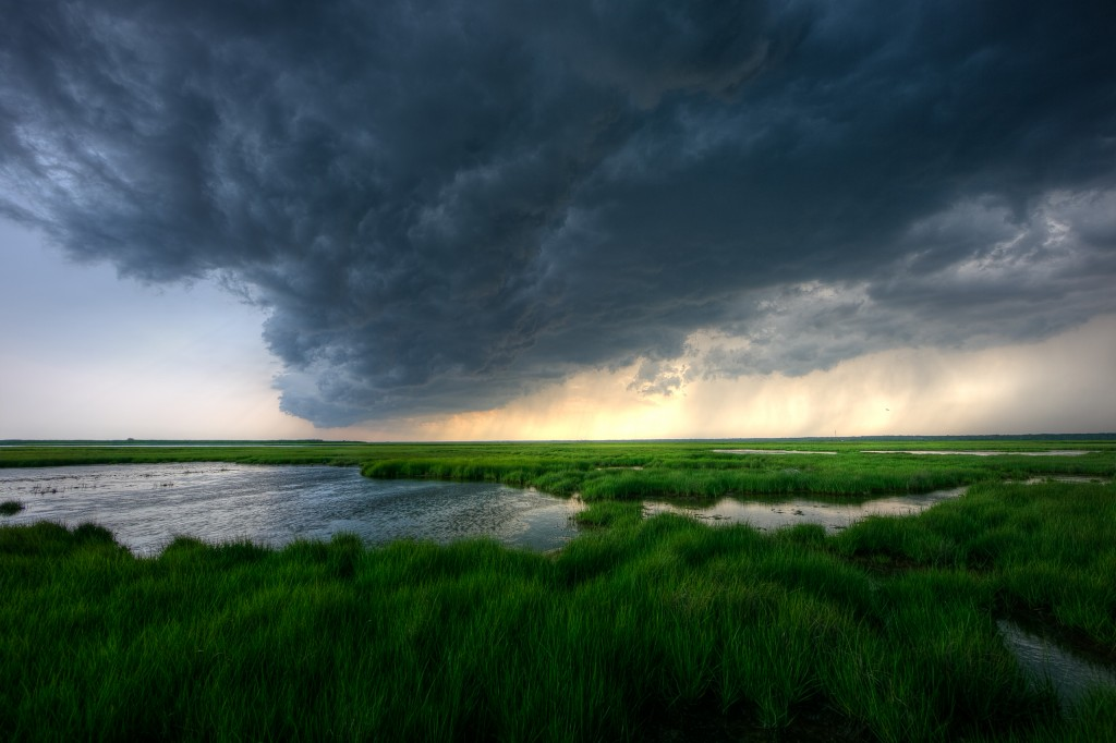 Storm clouds roll in over southern New Jersey marshland