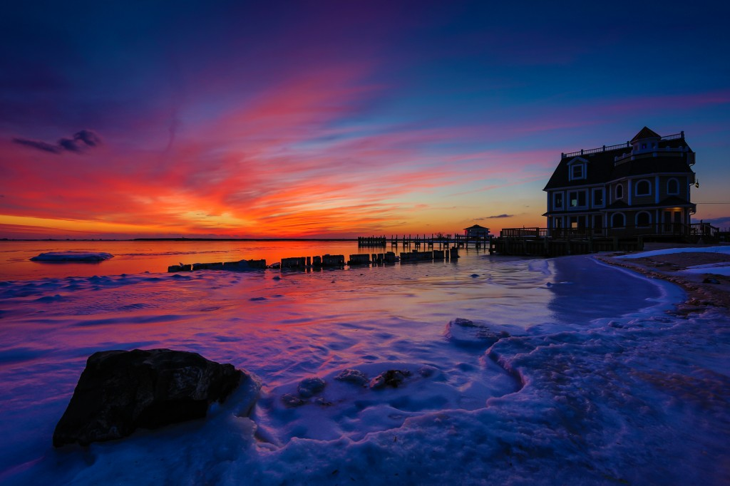 A wide angle HDR capture of a magnificent sunset at Antoinetta's Restaurant on Cedar Run Dock Road.