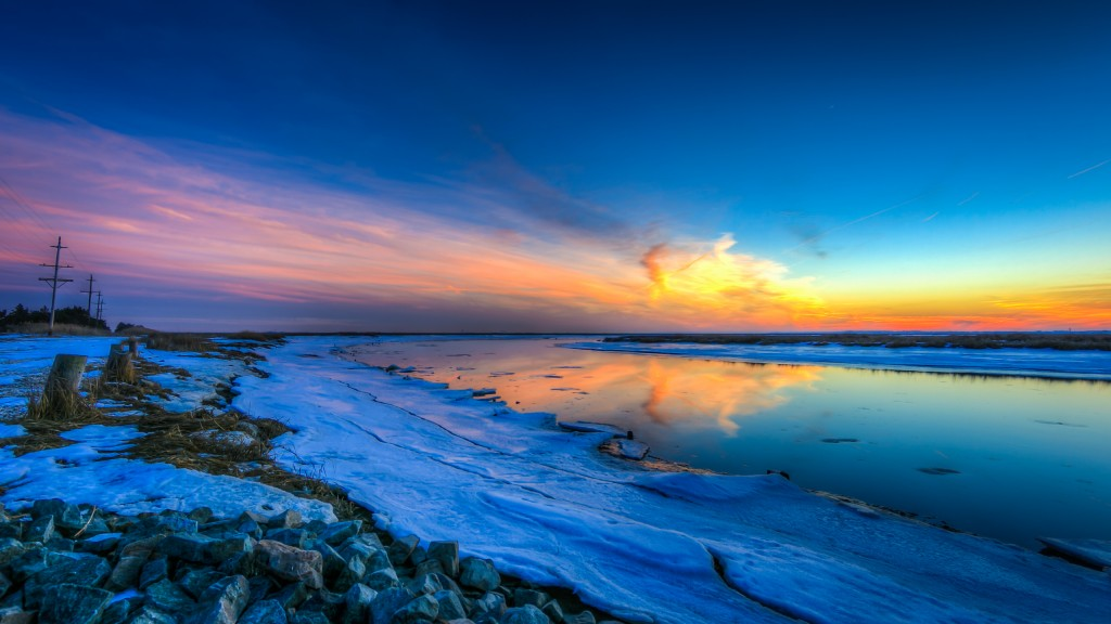 An HDR photograph of the marsh at sunset taken by photographer Greg Molyneux on Great Bay Boulevard in Little Egg Harbor, New Jersey
