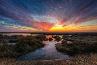 A sunset HDR photograph taken along Cedar Run Dock Road in Manahawkin, NJ, by local photographer Greg Molyneux