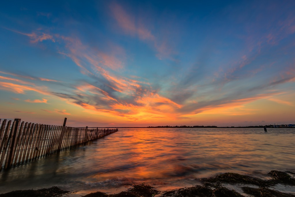 A vibrant HDR sunset taken bayside from Sunset Point in Ship Bottom, New Jersey.