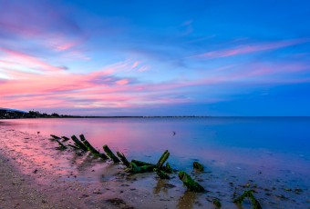 A serene coastline photographed at blue hour and processed for HDR; algae laden driftwood pieces mark the foreground with wisps of pink clouds setting beyond an old bridge and cool blue skies.