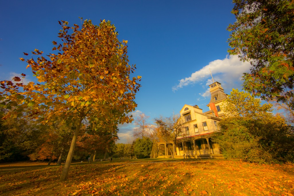 In this golden photograph late afternoon sun pours over the Autumn leaves illuminating the west side walls of a tucked away Batsto Village mansion.