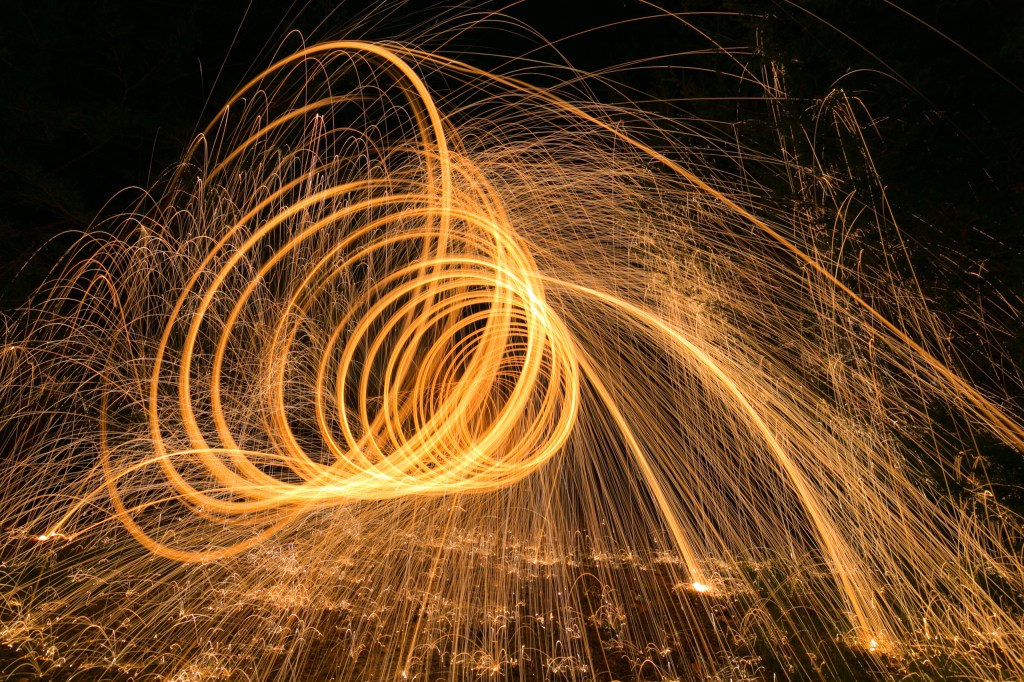 Light painting with steel wool to create the illusion of a tunnel.