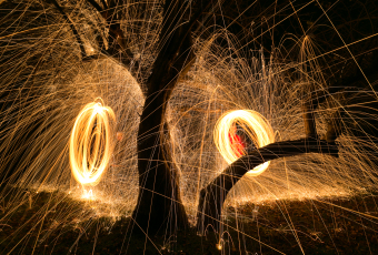 Two orbs of spinning steel wool to light paint a tree.