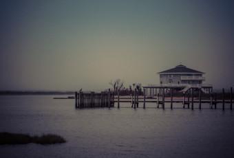Low key photograph of the Cedar Run Dock Road Octagon House