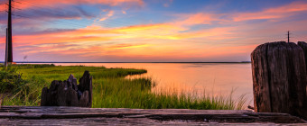 Wide angle HDR photograph of sunset over the Mullica River