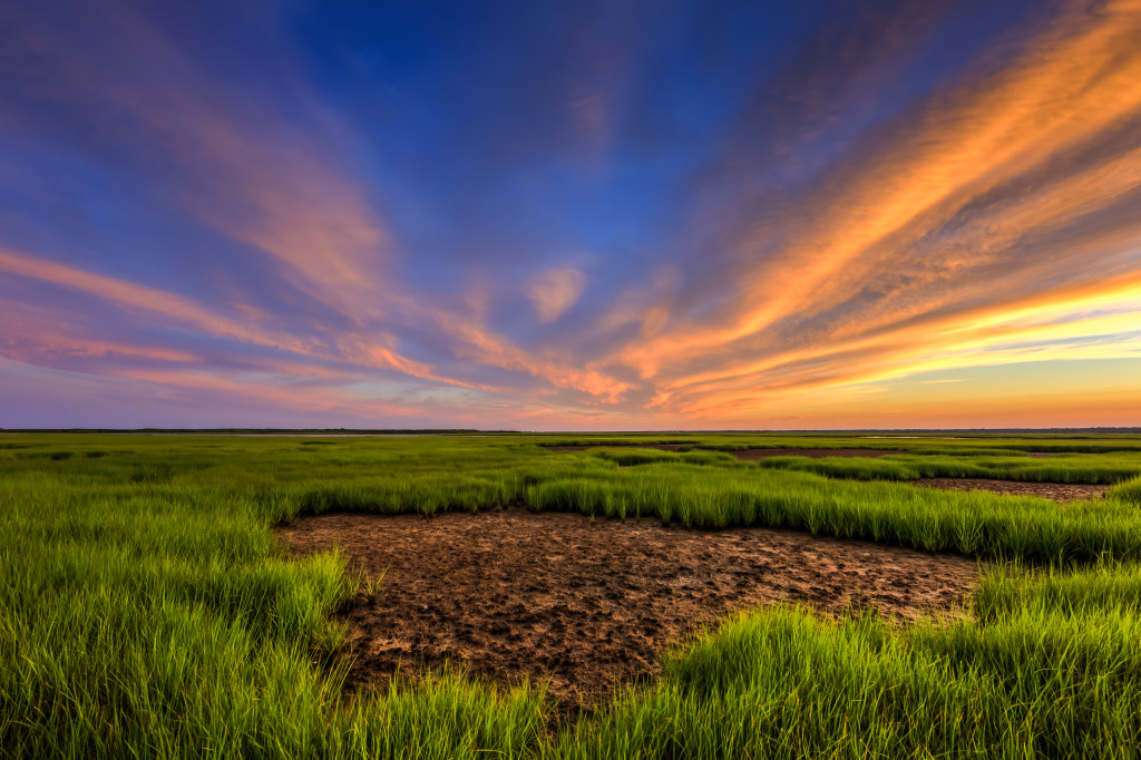 Vibrant color wide angle HDR sunset photograph
