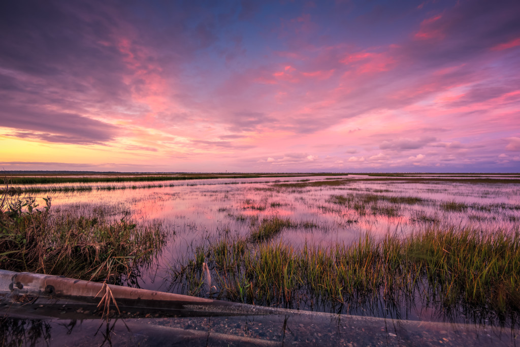 Wide angle HDR photograph of sunset over remnants of Joaquin tidal flooding on the Dock Road salt marsh