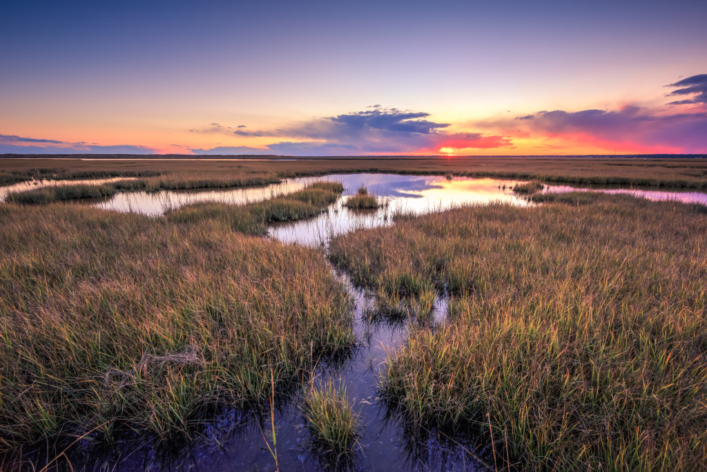 HDR landscape photograph taken at sunset over tide pools and marsh