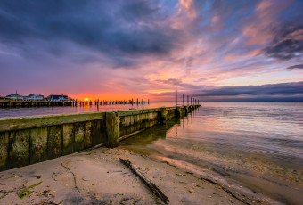 Wide angle HDR photograph of sunset over Barnegat Bay taken from LBI's Surf City Sunset Park