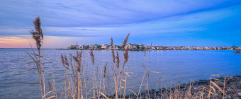 Square format landscape photograph of phragmites and Barnegat Bay at blue hour