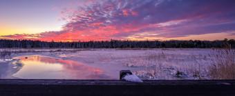 Sunset photograph taken atop a bridge overlooking a frozen marsh a day after Winter Storm Jonas