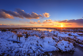 Landscape photograph of a snowy mid-Atlantic salt marsh at sunset