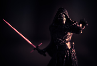 Kylo Ren Christmas tree ornament photographed as a low key miniature replica