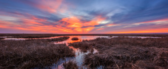 Fiery sunset smolders over the marsh taken as a landscape HDR photograph
