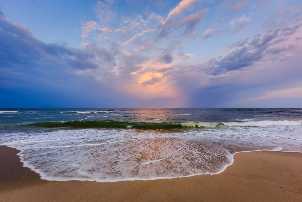 Wide angle photograph of blue hour on the beaches of Surf City, Long Beach Island.