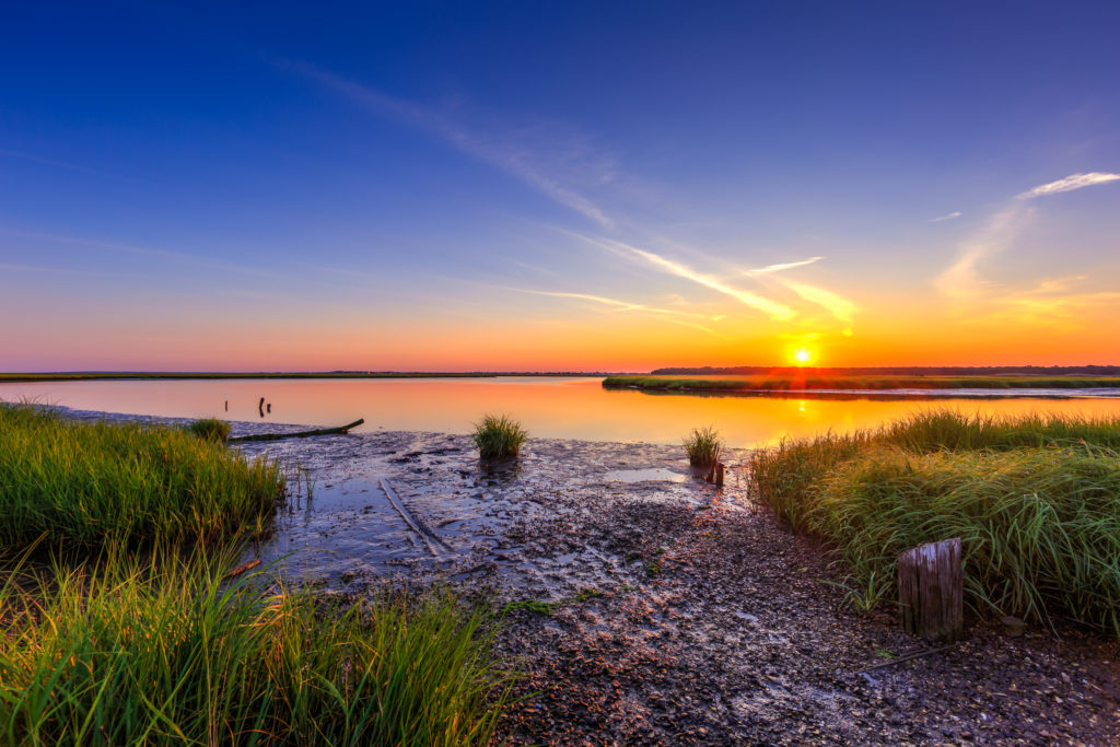 HDR photograph of a summer sunset over the Great Bay Boulevard salt marsh.