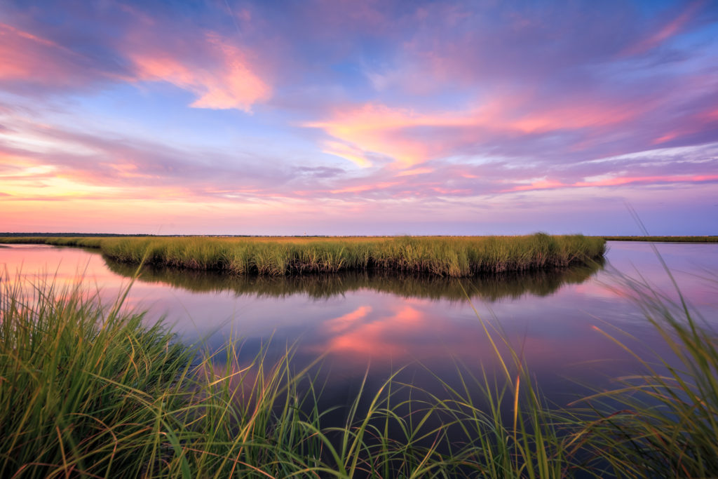 HDR sunset photograph looking sublime over the salt marsh.