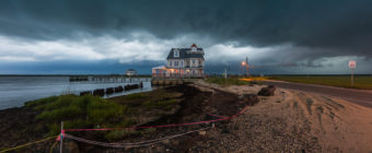 Photograph capture of fierce clouds and thunderstorms approaching Antoinetta's restaurant from the west.