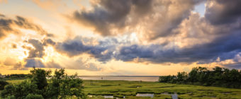Golden hour photo from LBIF marsh featuring crepuscular rays.