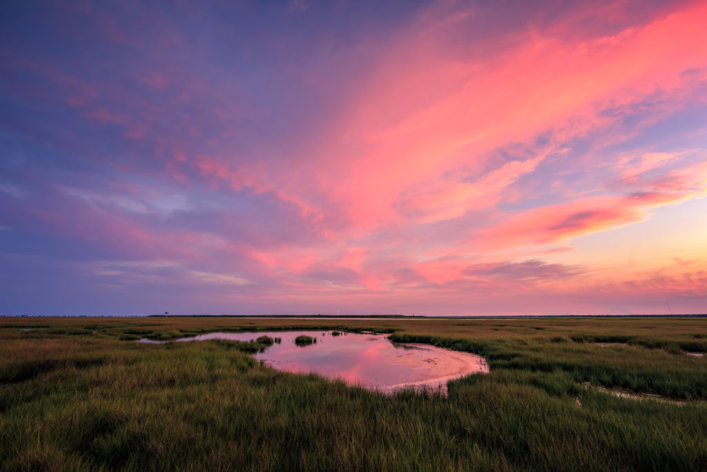 Landscape photograph of a pastel sunset sky over a summer salt marsh.