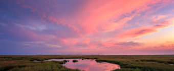 Landscape photograph of a pastel sunset sky over a summer salt marsh.