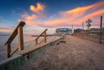 Sunset photo with colorful clouds along the Long Beach Island bayside.