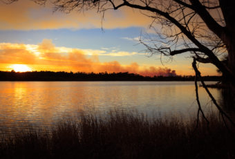 NJ Pinelands photo of a controlled burn smoke plume training across the horizon at sunset.