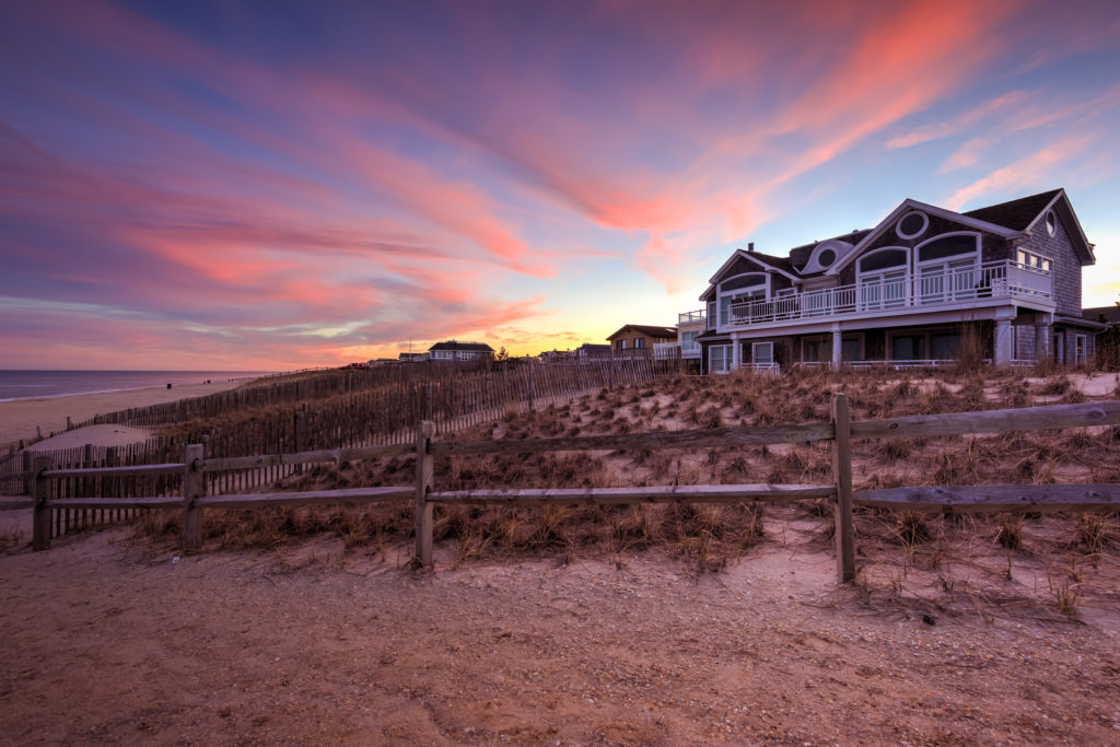 Sunset photo of pastel clouds over LBI beachfront property.