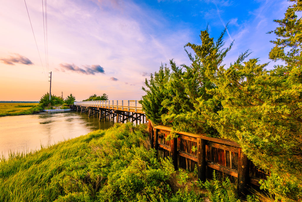 Golden hour landscape photo over creek and wooden bridge.