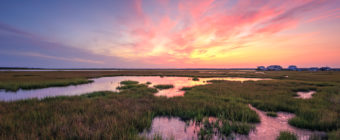 Sunset photo over late summer Dock Road salt marsh.
