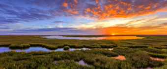 Photo of a fiery sunset over marsh and tidal pools.