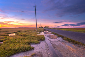 Blue hour photo of marsh, puddles, and power lines along the roadside.