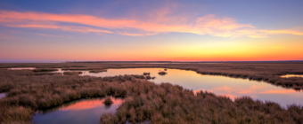 Salt marsh sunset photo in late fall.