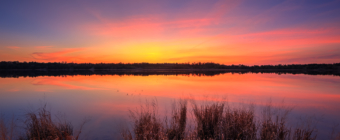 Fiery sunset photo over still water at Stafford Forge Wildlife Management Area.