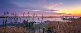 Great Bay Boulevard sunset photo of Rand's Marina left in ruin.
