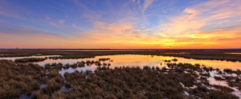 Sunset over Cedar Run Dock Road salt marsh.