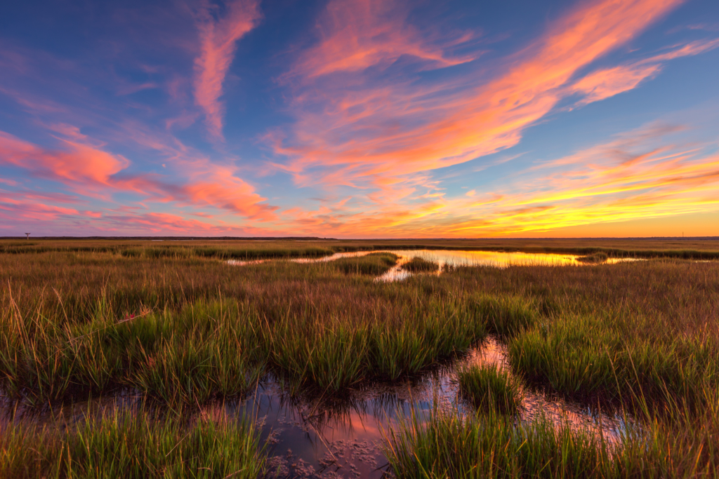 Wide angle pastel sunset photo over salt marsh.