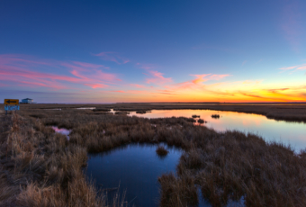 Wide angle winter sunset photo made over tranquil salt marsh.