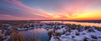 14mm winter sunset photo made over frozen and snowy salt marsh.