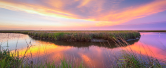 14mm wide angle sunset photo over salt marsh and oxbow water flow with two white egrets standing in the water feeding.