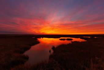 14mm photo of a burning red sunset smoldering over the winter salt marsh with sky reflections in the water.