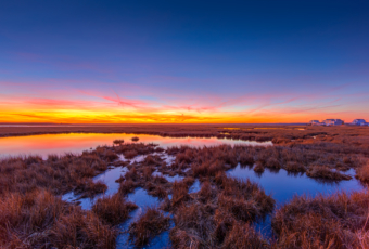 14mm wide angle sunset photo made on Christmas Eve 2019, glowing over Cedar Run Dock Road salt marsh.