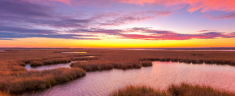 14mm wide angle sunset photo made of pink pastel clouds over brown wind swept salt marsh grasses and rippling water features.
