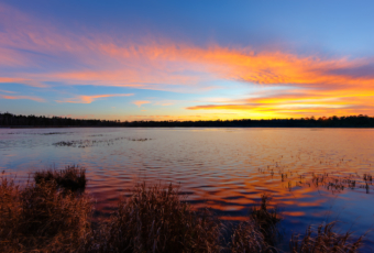 14mm wide angle sunset photograph made at Stafford Forge Wildlife Management Area. Intensely vibrant pastel hues color an array of clouds pulled across the sky reflecting atop the undulating pond water.
