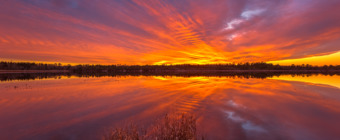 14mm wide angle photograph of a fiery sunset burning intense reds, yellows, and orange across the whole of the sky. All reflected by the calm mirror reflection of the Stafford Forge lake.
