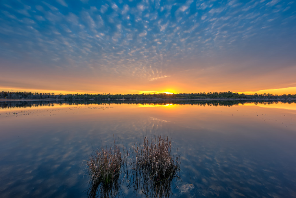 14mm wide angle photo of a golden hour mackerel sky reflected over still waters of Stafford Forge Wildlife Management Area.